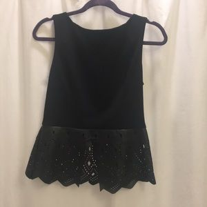 Esley Tops - Black peplum top